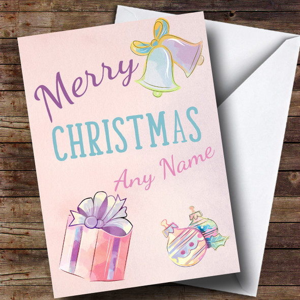 Cute Pastel Watercolour Present Bauble Christmas Personalised Card