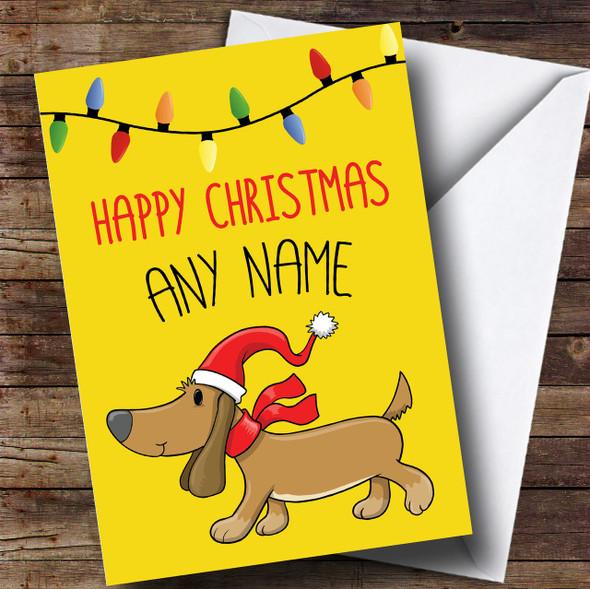 Bright Sausage Dog Christmas Personalised Card