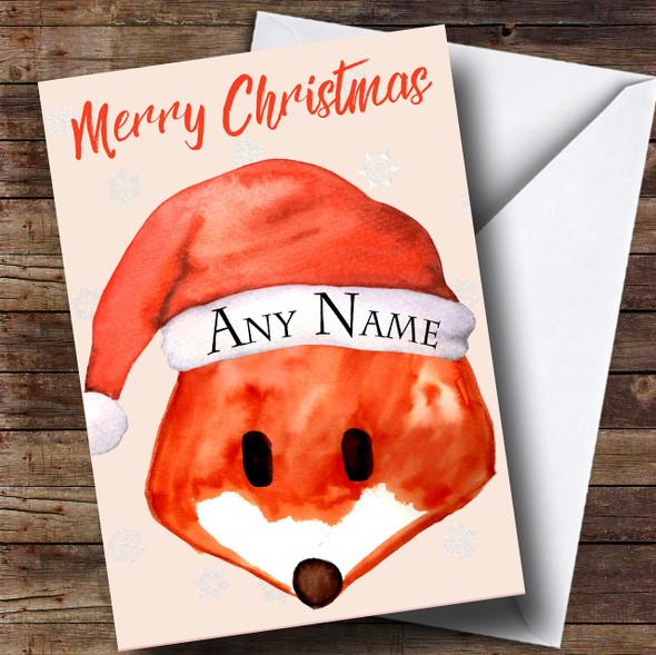 Cute Fox Hat Snow Christmas Personalised Card