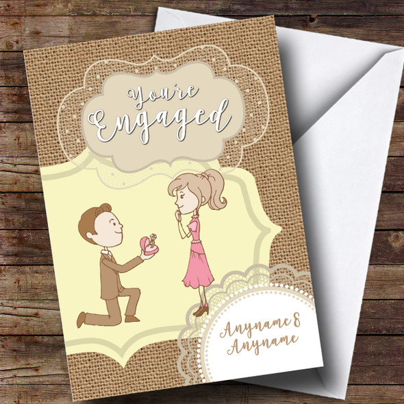 Burlap Style Love Couple Engagement Personalised Card