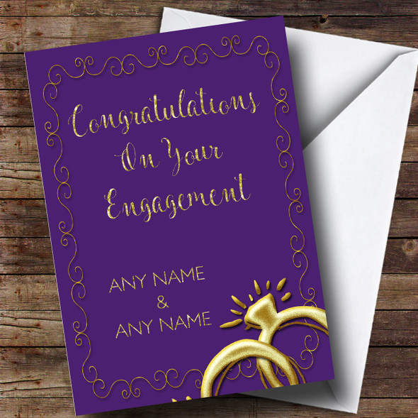 Purple Floral Gold Rings Engagement Personalised Card