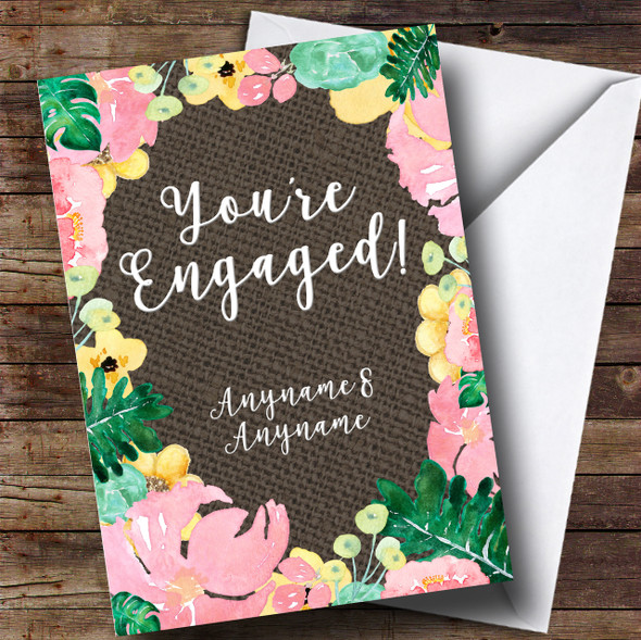 Floral & Dark Hessian Engagement Personalised Card