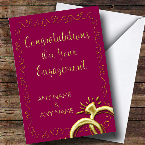 Red Floral Gold Rings Engagement Personalised Card