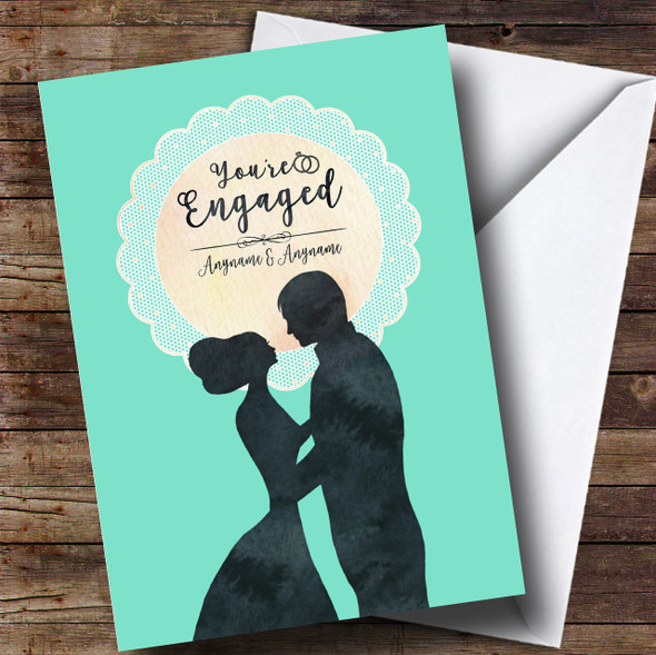 Mint Lace Silhouette Engagement Personalised Card