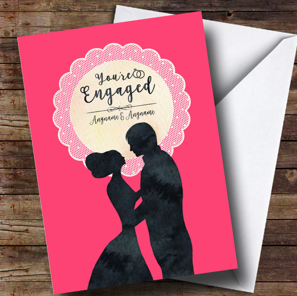Pink Lace Silhouette Engagement Personalised Card
