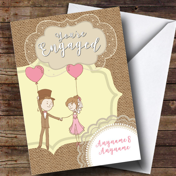 Love Balloons Engagement Personalised Card