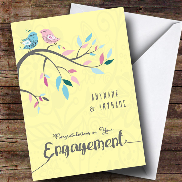 Yellow Birds Engagement Personalised Card