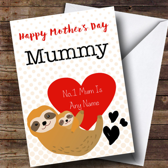 No1 Mummy Sloth And Baby Mothers Day Personalised Card