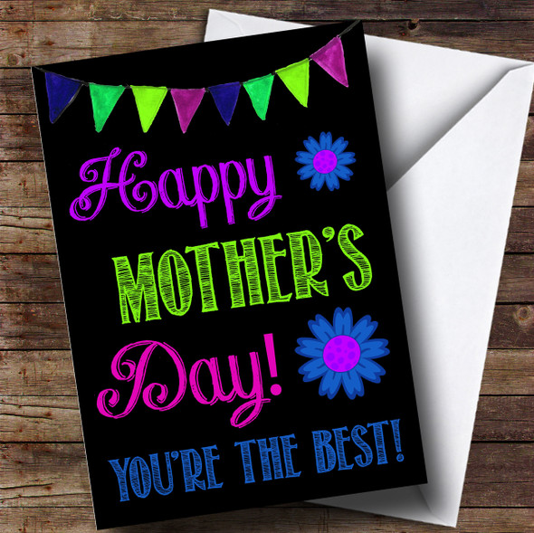 Bright Bunting Flower Mothers Day Personalised Card