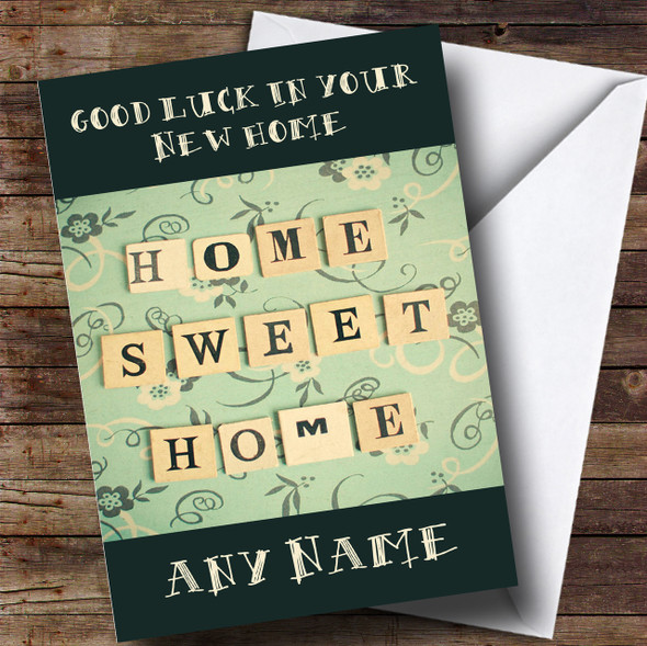 Green Home Sweet Home New Home Personalised Card