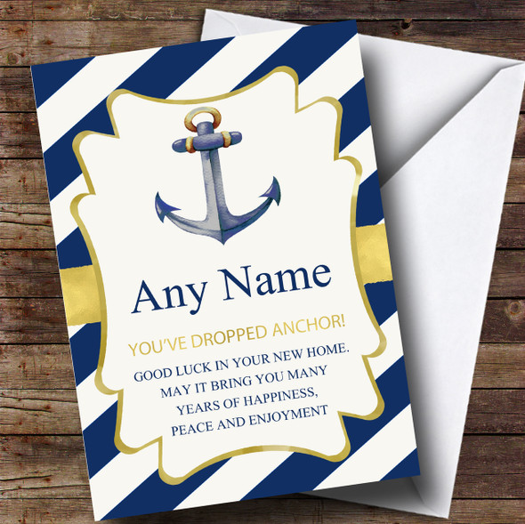 Stripe Dropped Anchor New Home Personalised Card