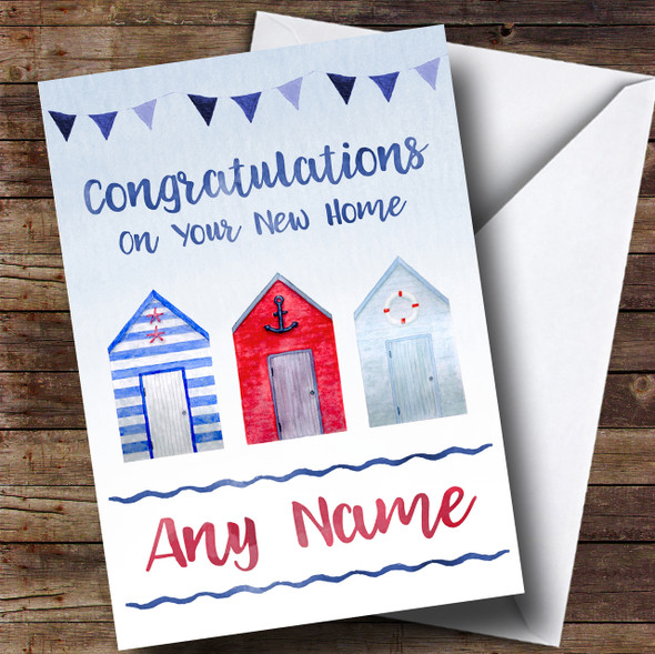 Watercolour Beach Hut New Home Personalised Card