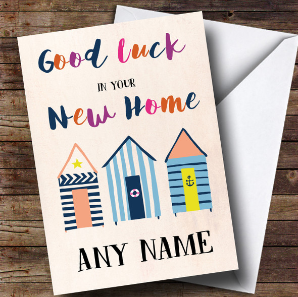 Beach Huts Colourful New Home Personalised Card