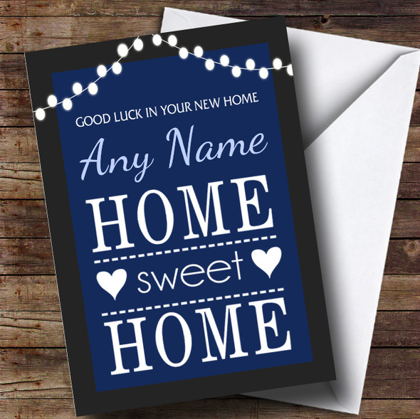 Home Sweet Home Blue New Home Personalised Card