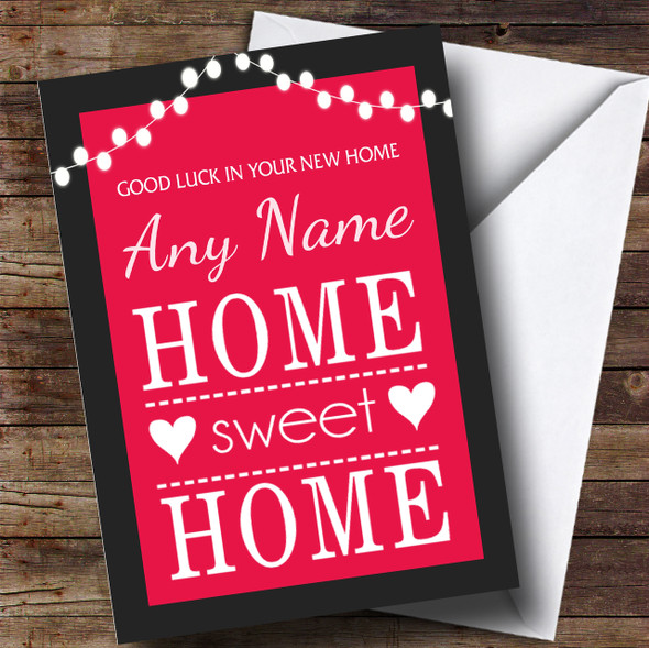 Home Sweet Home Pink New Home Personalised Card