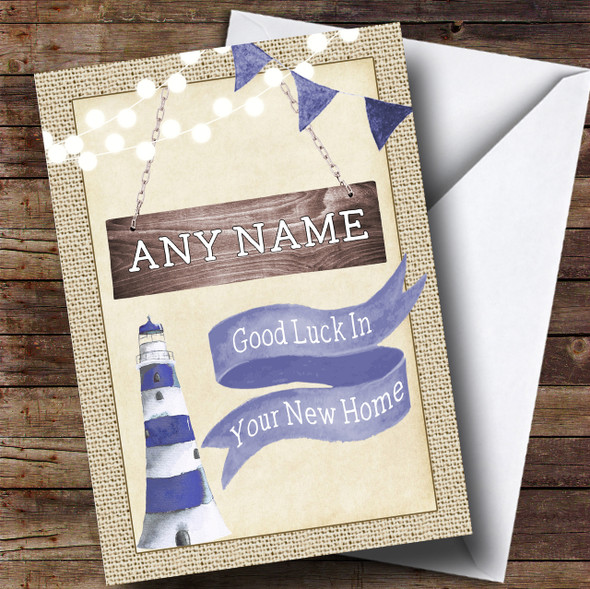 Burlap & Lighthouse New Home Personalised Card