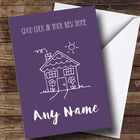 Purple Doodle House New Home Personalised Card
