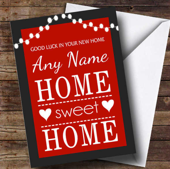 Red Home Sweet Home New Home Personalised Card