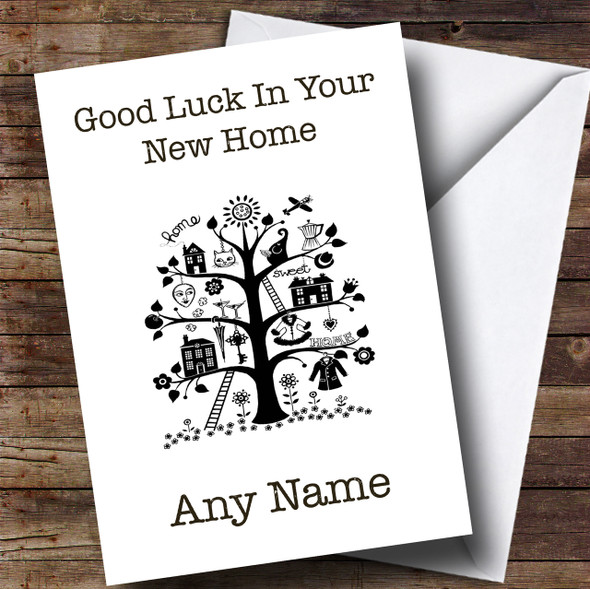 Black & White Tree New Home Personalised Card
