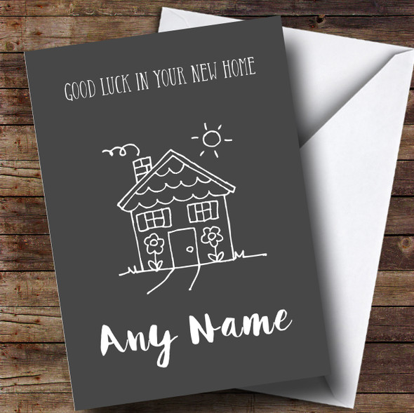 Grey Doodle House New Home Personalised Card
