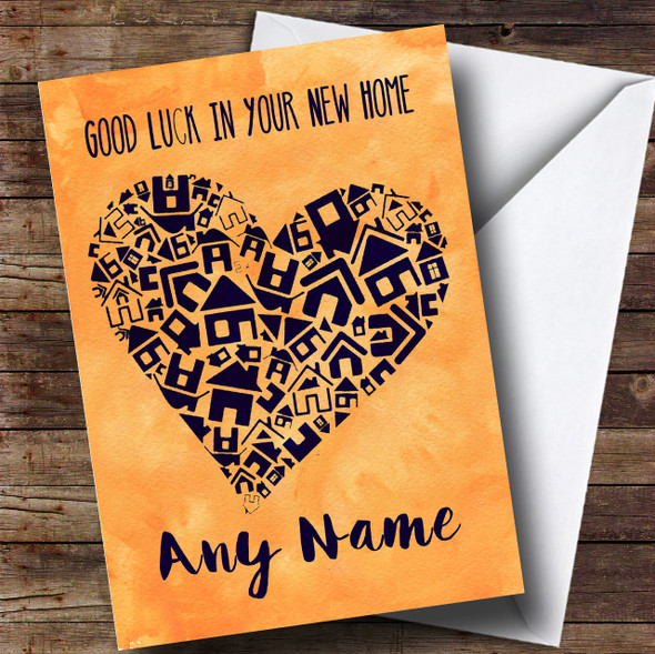 Blue House Heart New Home Personalised Card