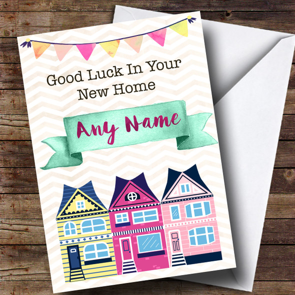 Bunting & Houses New Home Personalised Card