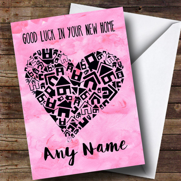 Pink House Heart New Home Personalised Card