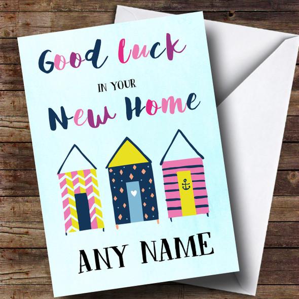 Beach Huts Blue New Home Personalised Card