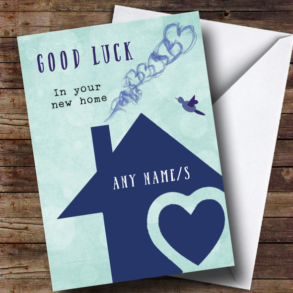 Blue House New Home Personalised Card