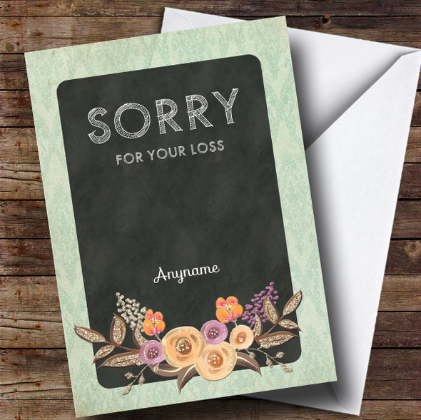 Personalised Sorry For Your Loss Vintage Mint Floral Watercolour Sympathy Card