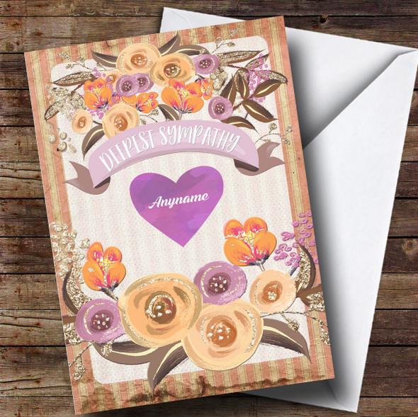 Personalised Vintage Floral Brown Watercolour Sorry Sympathy Card