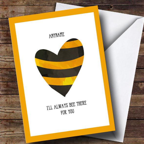Personalised Bee There For You Stripy Heart Sympathy Card