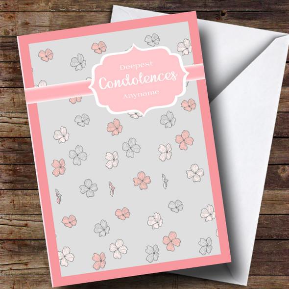 Personalised Floral Pink & Grey Condolences Sympathy Card