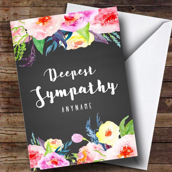 Personalised Floral Chalk Deepest Sympathy Sympathy Card