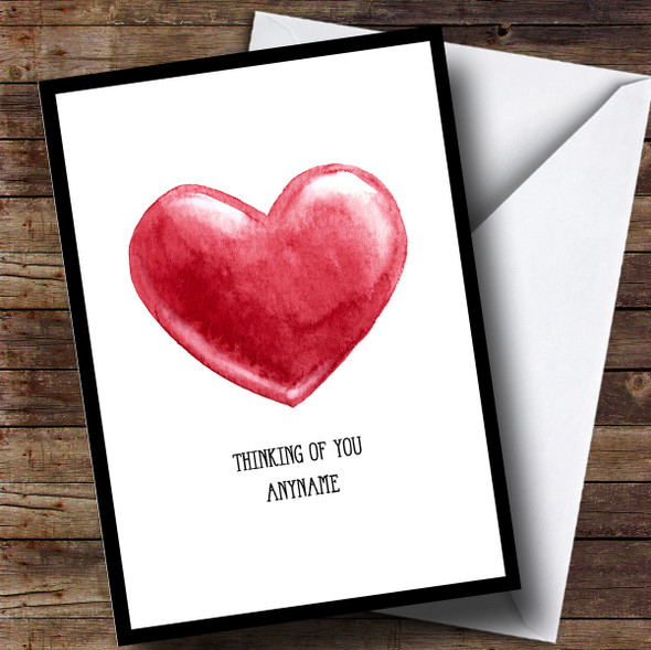 Personalised Thinking Of You Painted Heart Sympathy Card