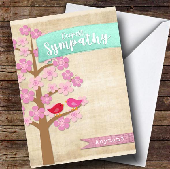 Personalised Rustic Sympathy Blossom Tree Sympathy Card
