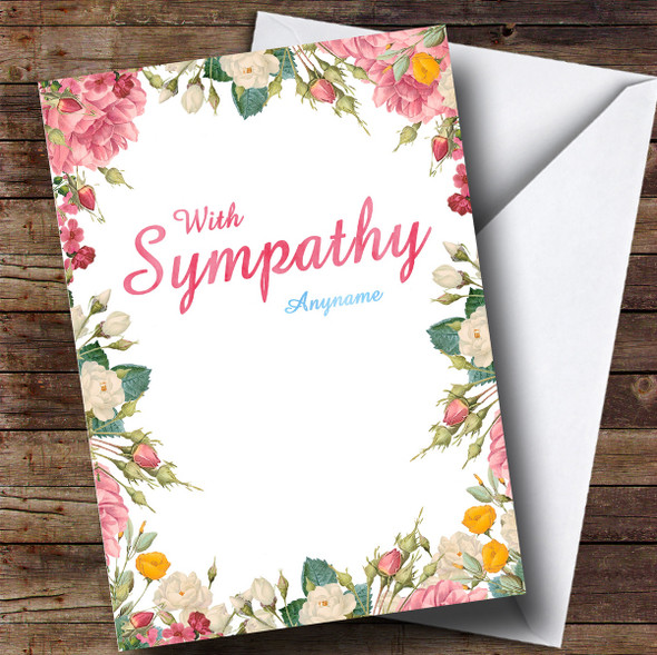 Personalised Floral Watercolour Sympathy Sympathy Card