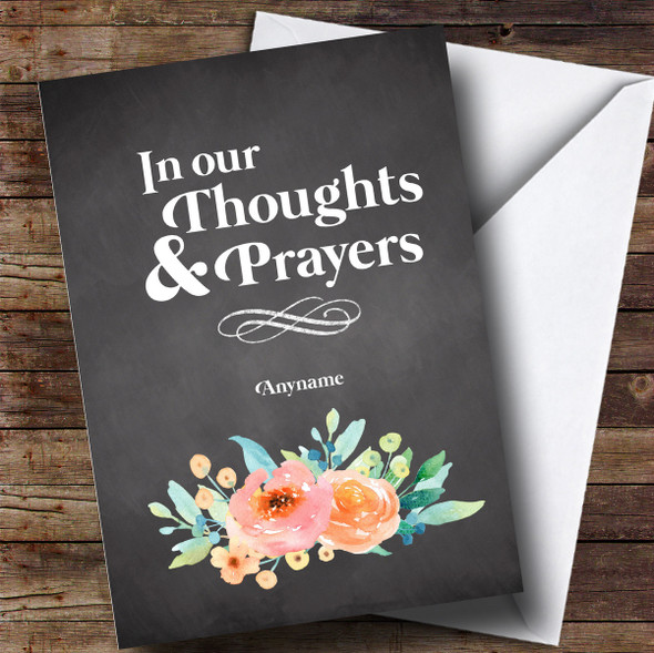 Personalised Chalk Thoughts & Prayers Sympathy Card