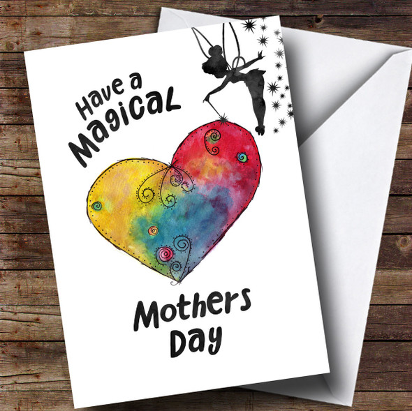 Personalised Tinkerbell Magical Painted Heart Mothers Day Card