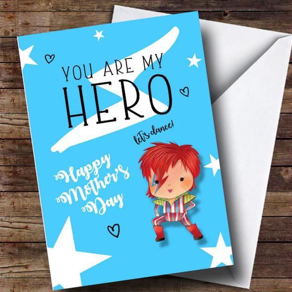 Personalised David Bowie Cute Cartoon Hero Mothers Day Card