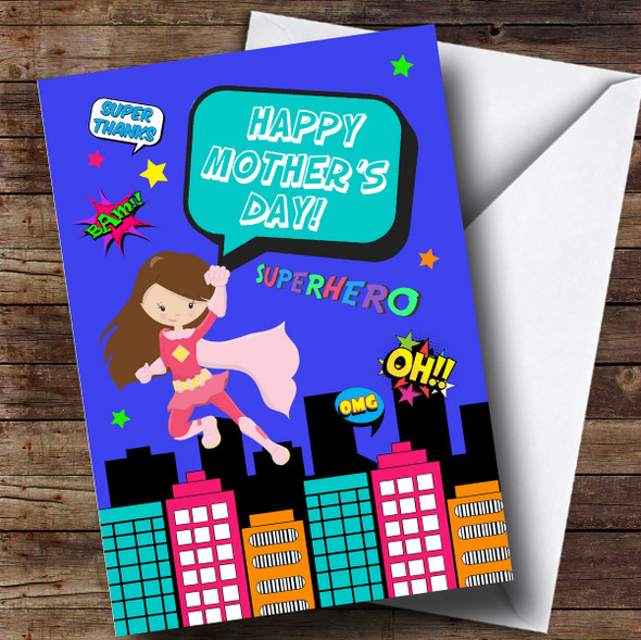 Personalised Comic Superhero Mum Brown Mothers Day Card