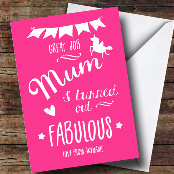 Personalised Fabulous Unicorn Pink Mothers Day Card