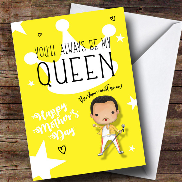 Personalised Queen Cute Cartoon Mothers Day Card