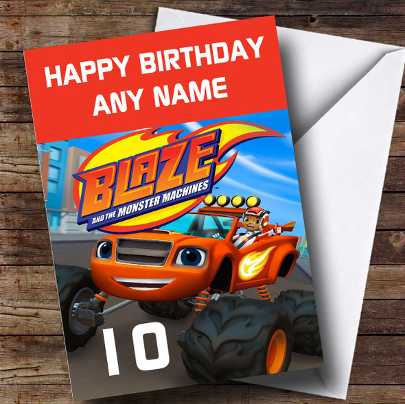 Personalised Blaze And The Monster Machines Any Age Children's Birthday Card