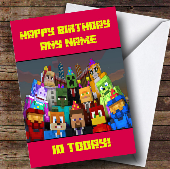 Personalised Minecraft Party Characters Girls Children's Birthday Card