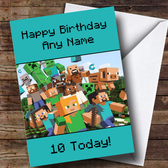 Personalised Minecraft Party Characters Green Children's Birthday Card