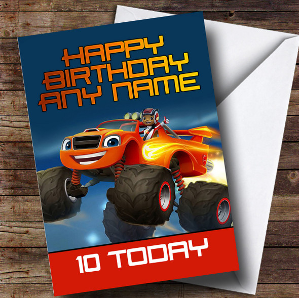 Personalised Blaze And The Monster Machines Children's Birthday Card