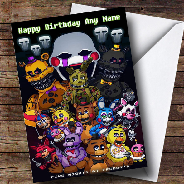 Personalised Fnaf Five Nights At Freddy's Children's Birthday Card