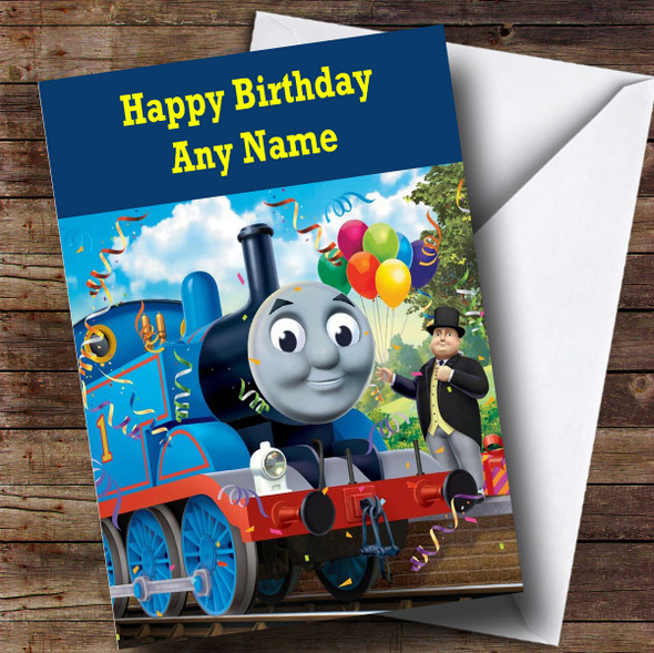 Personalised Blue Thomas The Tank Engine Children's Birthday Card