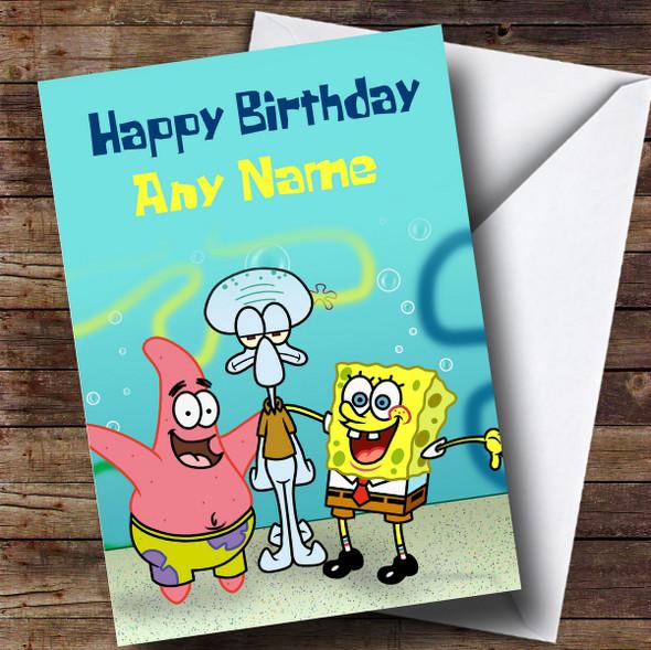 Personalised Green Spongebob Squarepants Children's Birthday Card
